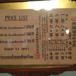 魚信旅館 - 昔の料金表。