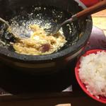石焼パスタ kiteretsu食堂 - 残りの器&1口ライス