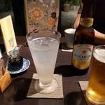 創作和食 田 - サワーと同行者のノンアルコールビール