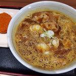 あさひ - カレー南蛮そば(490円)+コロッケ(80円)