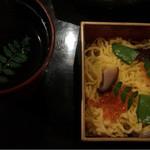 肉匠なか田 - ちらし寿司とおぼろ昆布のスープ
