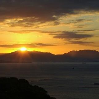 最上階からの夕陽を