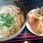 こがね製麺所 - かけうどん¥445+鶏天¥155+春菊天¥105