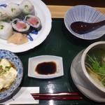あまくさ天慎 - ◆天慎名物ランチ(900円)・・三代巻と鉄火巻き・だご汁・おぼろ豆腐のセット。