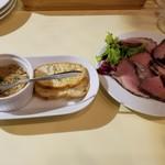肉屋のイタリア酒場 Mario - お通しと合鴨の燻製