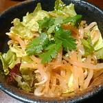 木村屋本店 - もやしナムルに野菜とパクチーを入れてみた