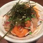 博多水炊き 大和 - 海鮮漬け盛り合わせ(サーモンとかんぱち)
