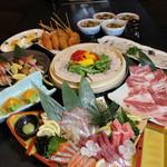 武蔵 - 料理写真:マグロ大トロ入り刺身盛合せ付き。一晩寝かした自家製塩豚のせいろ蒸しコース 3500円