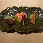67501296 - [前菜]                       虎魚の肝煮、黄身寿司、ばちこ
