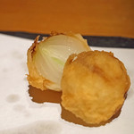石臼挽き手打蕎楽亭 - 天ぷら 小玉ねぎ