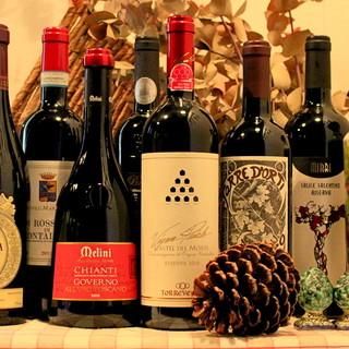 イタリアワインを中心に取り揃えております。
