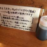 豚麺アジト - カウンターには、注文の仕方の説明があります。