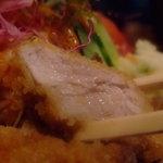 676869 - 『比呂野』のひれかつ。旨みの肉汁は塩にも味噌にも◎