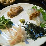 67600572 - 鯛のお刺身、味噌和え、薬味