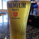 魚屋路 - ドリンク写真:平日15時~18時限定のハッピーアワーの生ビールはプレミアムモルツ通常480円が260円と、茶豆通常160円が付いたお得な360円セット