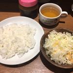 1ポンドのステーキハンバーグ タケル - ライススープサラダ☆★★☆