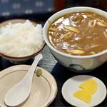 つる岡 - カレーうどん+ご飯小