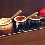 寿々喜家 - 卓上調味料(にんにく、豆板醤、しょうが、酢)