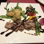 RISTORANTE Baci - A5ランク特選和牛フィレ肉とフォアグラの重ね焼き  パルミジャーノのクロッカンテとトリュフソース