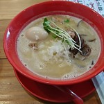 濃厚鶏白湯拉麺 乙 - 濃厚鶏白湯拉麺+煮玉子:750円+100円+税
