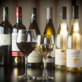 ソムリエ厳選の豊富な種類のグラスワイン
