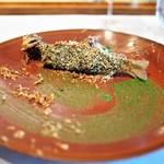 レストラン マノワ - 鮎の2時間コンフィ 鮎の肝と山梨県・芦安の山椒の香り