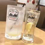 三代目 鳥メロ - レモンサワー ¥0(サイコロで男前ジョッキ無料ゲット) / ハイボール(だったような…)¥299