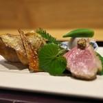 祇園 にし - のどぐろの幽庵焼きはしっとり。鴨ロース、ばちこ、タコの柔らか煮、小芋の含め煮。