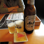 来集軒 - 料理写真:大瓶ビール670円と無料のお通し