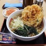 名代 箱根そば - かき揚げ天そば+一膳御飯(鮭)