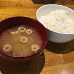 67718039 - 味噌スープ&ライスd( ̄。  ̄)ノ