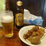 鐘庵 三保総本店 - ビールはエビスビール おでんは玉子、スジ、ちくわ