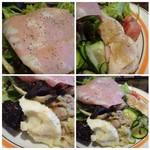 ノムカ+cafe - 「蒸し鶏」「ポテトサラダ」「シーチキンサラダ」「しめじの炒め物」「塩もみ胡瓜」「茄子(甘辛いお味付)」など盛りだくさん。