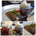 ノムカ+cafe - ◆デザート2種・・コーヒーゼリーとバウンドケーキ。 ◆ドリンクは数種類から選べますので、アイスコーヒーを。少し薄めかしら。