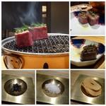 焼肉すどう - *途中で2回、お肉を休ませ旨みを引き出されていました。 「フライオニオン」「塩」「黒胡椒の塩漬け(だったような)」で頂きます。