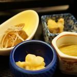 旬楽幸味 - 淡路産針イカゲソの味噌和え、鮪煮付け、鰆南蛮、焼きナス(2017.5.29)