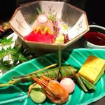 日本料理 浮橋 - 二種盛り あしらい一式