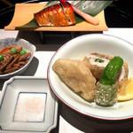 日本料理 浮橋 - 皐月の口取り 鯖柚香焼き 太刀魚難波揚げ