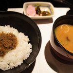 日本料理 浮橋 -  ちりめん山椒御飯 合わせ味噌仕立て 三種盛り
