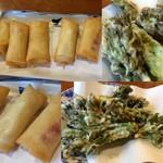 いずみ亭 - チーズ春巻き600円/タラの芽天ぷら
