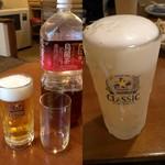 いずみ亭 - 生ビールとウーロン茶/しばれたグラスのビール