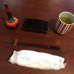67800775 - お茶、おしぼり、爪楊枝、山椒、箸