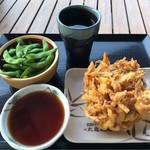 丸亀製麺 - 野菜かき揚げ&枝豆&黒霧島