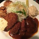 グリル ロン - Bsetハンバーグ魚フライヘレカツ(´∀`)+鶏唐揚