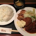 グリル ロン - Bsetハンバーグ魚フライヘレカツ(´∀`)+鶏唐揚  ライス大 スープ