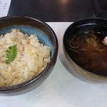 米沢牛黄木 金剛閣 すき焼き しゃぶしゃぶ 毘沙門 - 土鍋で炊いた筍御飯