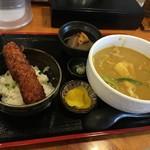 わだ泉 - ランチのカレーうどんと醤油カツ丼のセット