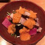 和味 大輔 - 米沢豚の黒胡椒焼き 水茄子と新ごぼうののラダ