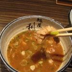 麺屋 利休 - 麺屋 利休:つけ麺(中盛り、あつもり):チャーシュウ