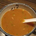 麺屋 利休 - 麺屋 利休:つけ麺(中盛り、あつもり):スープ割り